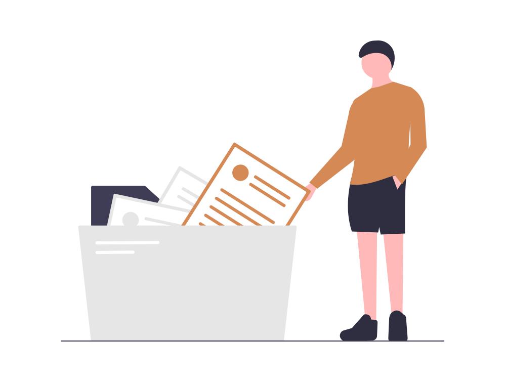 Symbolische Darstellung wie eine Person einen Ordner mit Daten öffnet.